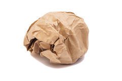 Brown crumpled paper ball Stock Photos
