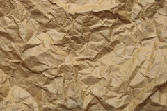 Brown crumpled paper texture stock image