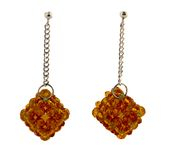 Brown crystal cluster earrings Royalty Free Stock Images
