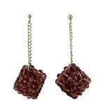 Brown crystal cluster earrings Stock Image