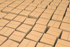 Brown cube boxes. Royalty Free Stock Photography