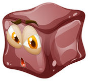 Brown cube with face Stock Photo