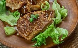 Brown cukieru wieprzowiny kotleciki obraz stock