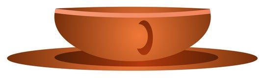 Brown-Cup auf Saucer Lizenzfreie Stockfotos