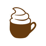 Brown cup of cappuccino with cream. Illustration Royalty Free Stock Photos