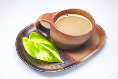 Brown cup of coffe Stock Photos