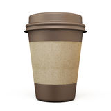 Brown cup of coffee with carton label Stock Photos
