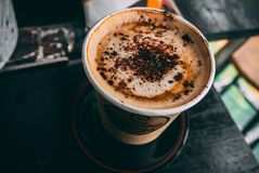 Brown Cup Filled With Cappuccino Stock Images