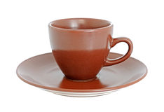 Brown cup with saucer Stock Photo