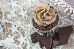 Brown cupcake with cream and chocolate. On the pink lace background Stock Images
