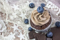 Brown cupcake with cream, many blueberries and chocolate. On the pink lace background Stock Images