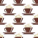 Brown cups of hot coffee seamless pattern Stock Photos