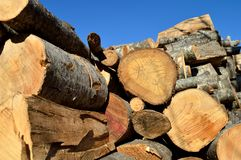 Brown cut wood for firewood. Stacked together royalty free stock images
