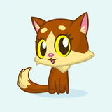 Brown cute kitty with green eyes and fluffy tail sitting. Vector cartoon cat illustration or icon. Brown cute kitty with green eyes and fluffy tail sitting Royalty Free Stock Image