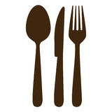 brown cutlery wytłacza wzory ikonę ilustracja wektor
