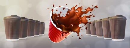 Brown czochry filiżanki z Dynamicznym Kawowym pluśnięciem bokeh szarość tło royalty ilustracja