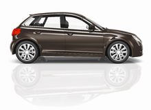 Brown 3D Hatchback Car Illustration Royalty Free Stock Photos