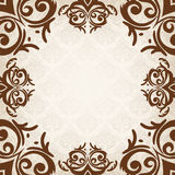 Brown damask frame Stock Photography
