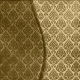 Brown Damask Seamless. Rich, two toned golden brown floral damask fabric seamless wavy ornate background Stock Photos