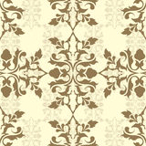 Brown damask wallpaper Royalty Free Stock Images