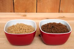 Brown and dark brown sugar Stock Image