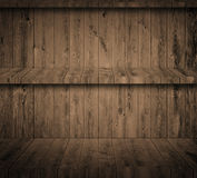 Brown dark grunge wooden wall with shelves Stock Photo