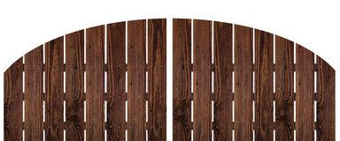 Brown dark wood fence isolated on white background. Used for design Royalty Free Stock Photography