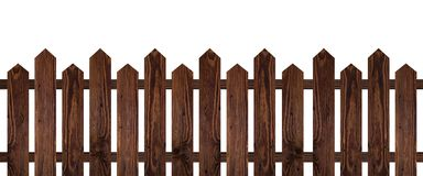 Brown dark wood fence isolated on white background. Used for design Royalty Free Stock Photo