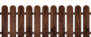 Brown dark wood fence isolated on white background. Used for design Stock Photos