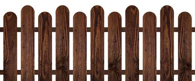 Brown dark wood fence isolated on white background. Used for design Stock Images