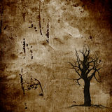 Brown dead tree silhouet grunge background Royalty Free Stock Images