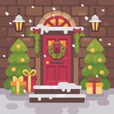 Brown decorated Christmas porch with fir trees and presents. Holiday home decor flat illustration Royalty Free Stock Images