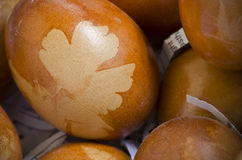 Brown decorated eggs with leaf pattern Royalty Free Stock Photography