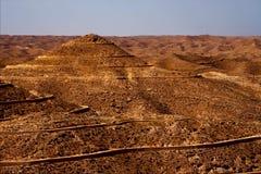 Brown desert. Street and hill in matmata tunisia Stock Photos