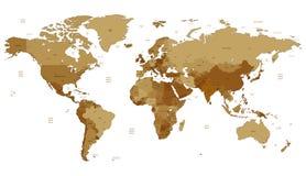Brown detalhou o mapa de mundo Fotografia de Stock Royalty Free