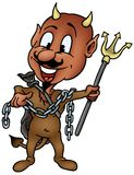 Brown Devil with Trident Royalty Free Stock Photos