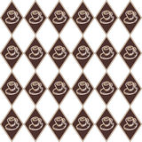 Brown diamond cup pattern. Seamless brown diamond pattern with whimsical hand drawn cups Royalty Free Stock Photography