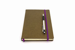 Brown Diary Book with pen. Royalty Free Stock Image