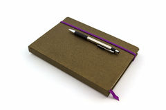 Brown Diary Book with pen. Royalty Free Stock Photos