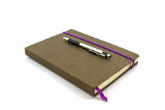 Brown Diary Book with pen. Royalty Free Stock Images