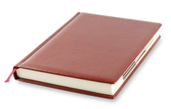 Brown diary with bookmark Royalty Free Stock Photography