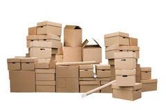Brown different cardboard boxes Royalty Free Stock Photos