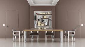 Brown dining room Royalty Free Stock Photography