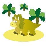 Brown dinosaur-Triceratops. Vector illustration. The image of a small brown dinosaur-Triceratops among the trees vector illustration