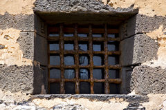 Brown distorted  castle window   broke   wall arrecife lanzarote Stock Image