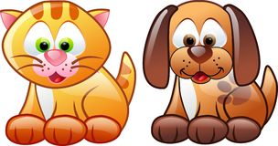 Brown dog and cat stock image