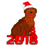 A brown dog in a Christmas hat, sits on the number 2018, a carto Royalty Free Stock Photo
