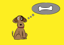Brown dog illustration with bone on yellow background Royalty Free Stock Photos