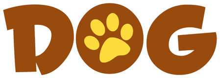 Brown dog text with paw print Stock Image