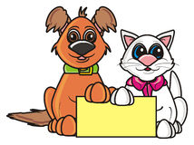 Brown dog and white cat with a blank sign Stock Image
